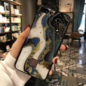 Iphone 8 Plus Marble Pattern Glitter Case